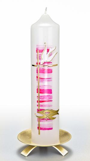 Taufkerze Eike rosa im Taufkerzen-Shop
