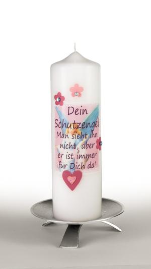 Taufkerze Mädchen Engel Spruch Herz rosa