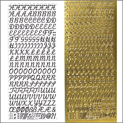 sticker schreibschrift gro 10mm gold zum kerzen verzieren. Black Bedroom Furniture Sets. Home Design Ideas