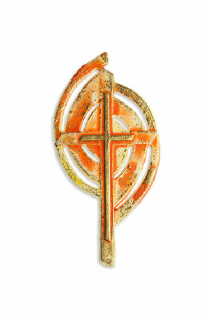 Wachsmotiv Kreuz-Emblem, orange-gelb-gold