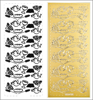 Sticker Kommunion u. Konfirmation-Elemente gold