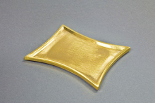 Kerzenteller Metall/Messing, gold 11x7cm konkav