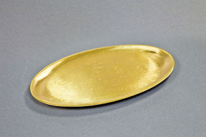 Kerzenteller Metall/Messing, gold 17x10cm oval