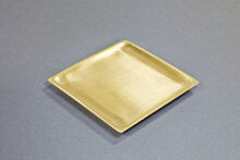 Kerzenteller Metall/Messing, gold 9x9cm