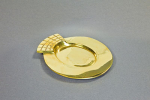 Kerzenteller Metall/Messing, gold 7x5cm innen